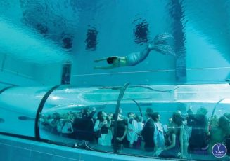 Он падает в самый глубокий в мире бассейн. Красиво, страшно и удивительно одновременно!