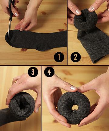 Как сделать такой шикарный пучок за пять минут, используя простой носок