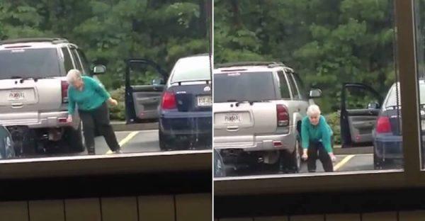 Бабушка думает, что ее никто не видит. Она танцует на парковке так, как последний раз в жизни