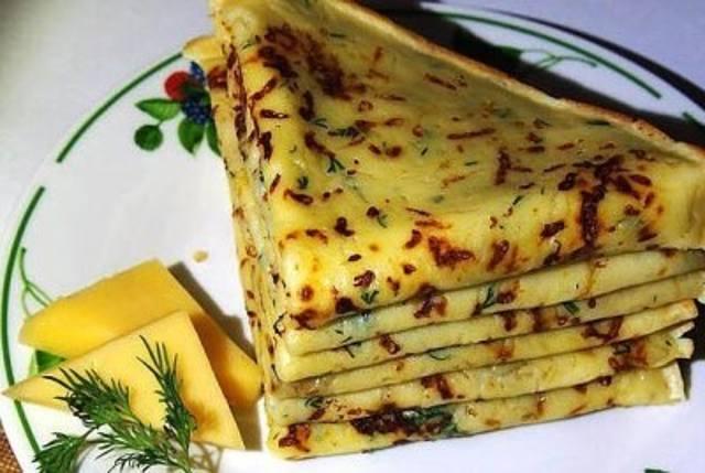 Сырные вкусные блинчики